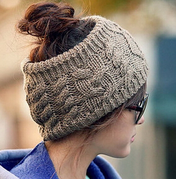 Twisted Knitted Yarn Headbands Women's Winter Fashion Empty Hat Hair Accessories Headbands