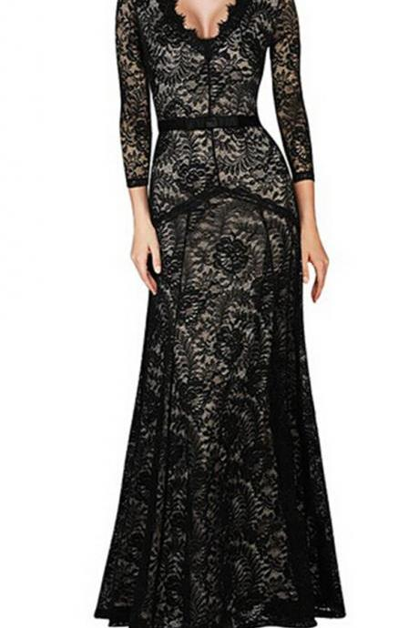 Maxi Dress Party Elegant Evening 3/4 Sleeve Long Vestidos De Fiesta Plus Size Formal Floor Length Women Lace Dress