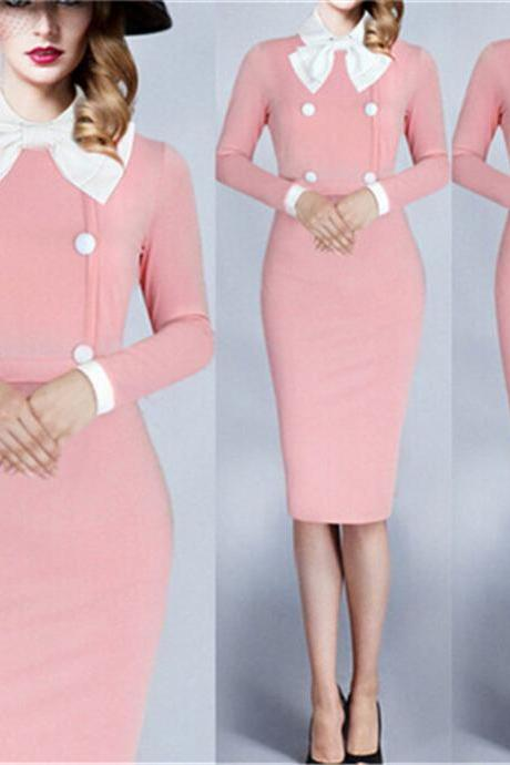 Plus Size Autumn Elegant Bowknot Collar Long Sleeve Buttons Deco Bodycon Slim Women Midi Office Pencil Dress Casual