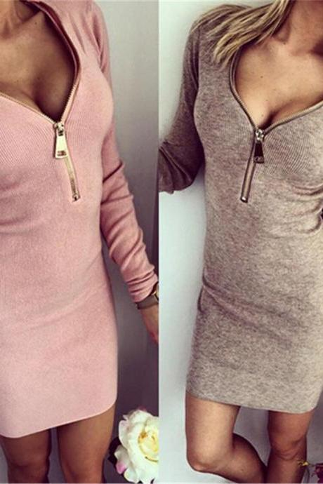 Women Bodycon Sexy Long Sleeve Deep V Neck Front Zipper Mini Dress