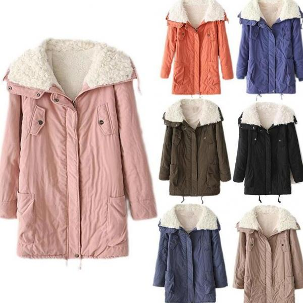 Women Fur Collar Thicken Warm Winter Coat Parka Overcoat Long Jacket Outwear