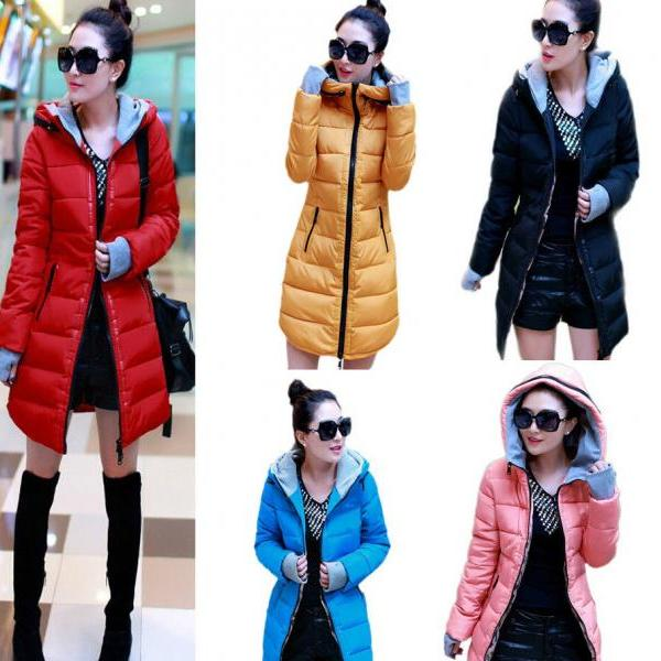 Women Long Winter Warm Hooded Parka Puffer Down Jacket Slim Fit Thicken Coat