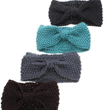 Hair accessories Winter Crochet Flower Bow Knitted Headwrap Headband Ear Warmer Hair Muffs Band